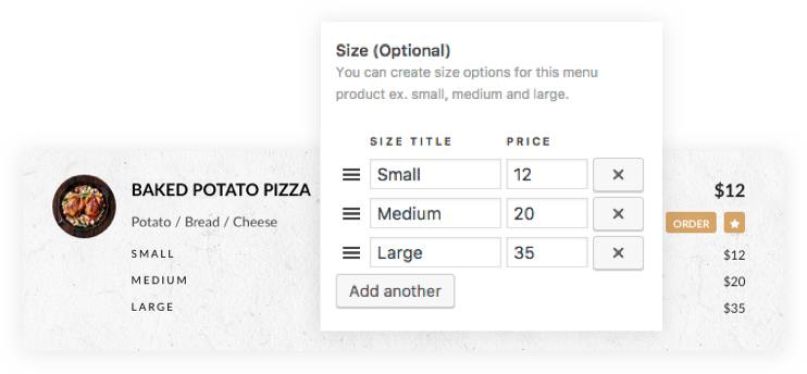 Multiple Menu Size & Price With Order Option